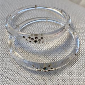 2 Alexis Bittar clear lucite bangle w/crystals